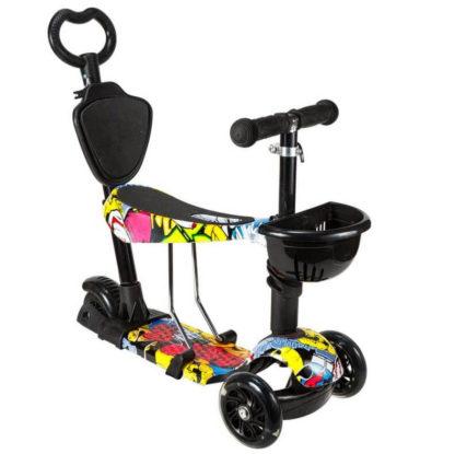 Детский трёхколёсный самокат 5 в 1 с сиденьем, родительской ручкой и светящимися колёсами 21st Scooter 5 in 1 Print Джокер - 4
