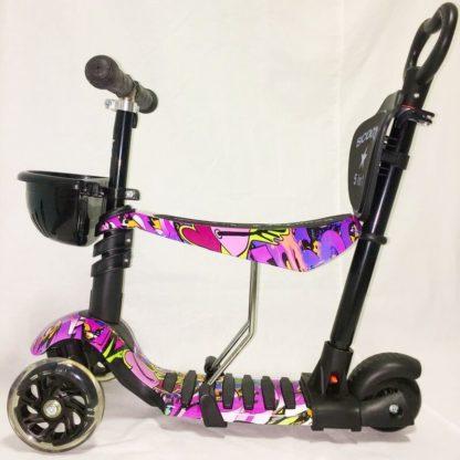 Детский трёхколёсный самокат 5 в 1 с сиденьем, родительской ручкой и светящимися колёсами 21st Scooter 5 in 1 Print Хип-хоп, ребристая дека - 2