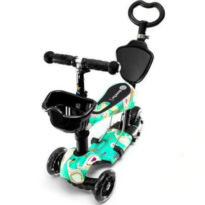 Детский трёхколёсный самокат-беговел 5 в 1 с сиденьем, родительской ручкой и светящимися колёсами 21st Scooter 5 in 1 Print Aqua - Аква