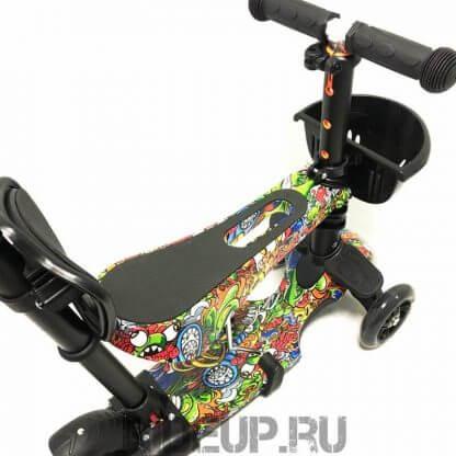 Детский трёхколёсный самокат-беговел 5 в 1 с сиденьем, родительской ручкой и светящимися колёсами 21st Scooter 5 in 1 Print Джунгли - 3