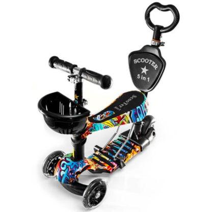 Детский трёхколёсный самокат-беговел 5 в 1 с сиденьем, родительской ручкой и светящимися колёсами 21st Scooter 5 in 1 Print Graffiti - Граффити