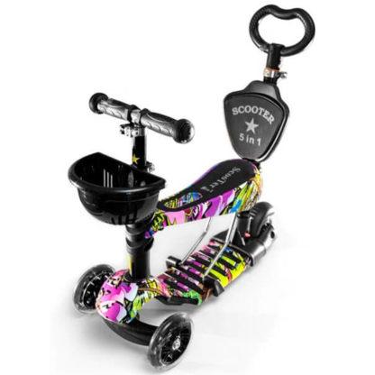 Детский трёхколёсный самокат-беговел 5 в 1 с сиденьем, родительской ручкой и светящимися колёсами 21st Scooter 5 in 1 Print Hip-Hop - Хип-Хоп
