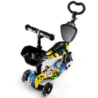 Детский трёхколёсный самокат-беговел 5 в 1 с сиденьем, родительской ручкой и светящимися колёсами 21st Scooter 5 in 1 Print Joker - Джокер