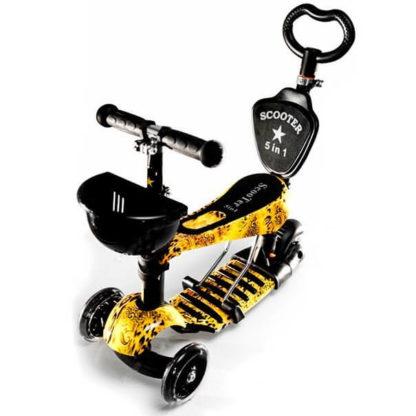 Детский трёхколёсный самокат-беговел 5 в 1 с сиденьем, родительской ручкой и светящимися колёсами 21st Scooter 5 in 1 Print Leo - Леопард
