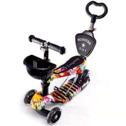 Детский трёхколёсный самокат-беговел 5 в 1 с сиденьем, родительской ручкой и светящимися колёсами 21st Scooter 5 in 1 Print Paradise - Райский сад