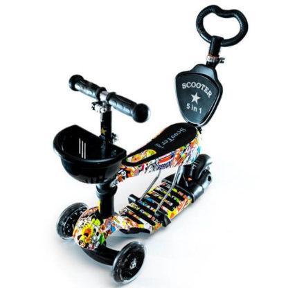 Детский трёхколёсный самокат-беговел 5 в 1 с сиденьем, родительской ручкой и светящимися колёсами 21st Scooter 5 in 1 Print Racing - Рейсинг
