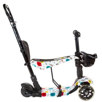 Детский трёхколёсный самокат-беговел 5 в 1 с сиденьем, родительской ручкой и светящимися колёсами 21st Scooter 5 in 1 Print Туфельки - 3