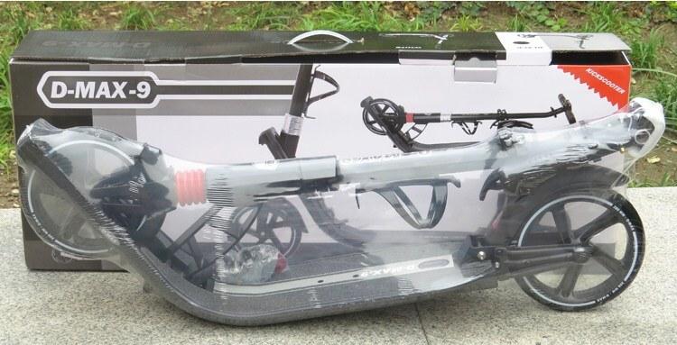 Двухколёсный складной самокат D-MAX 9 с ручным тормозом 2 амортизаторами и большими колёсами 200 мм - 15