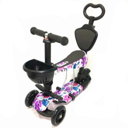 Самокат 5 в 1 с сиденьем, родительской ручкой, подставкой для ног и светящимися колёсами 21st Scooter 5 in 1 Print Цветы - 1