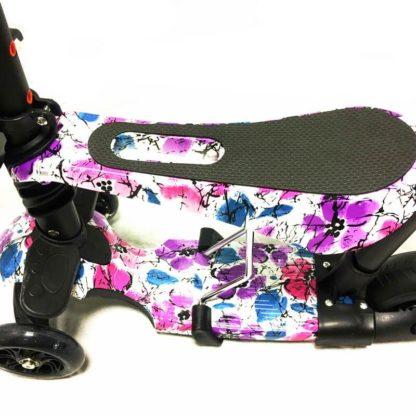 Самокат 5 в 1 с сиденьем, родительской ручкой, подставкой для ног и светящимися колёсами 21st Scooter 5 in 1 Print Цветы - 2