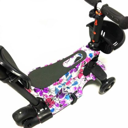 Самокат 5 в 1 с сиденьем, родительской ручкой, подставкой для ног и светящимися колёсами 21st Scooter 5 in 1 Print Цветы - 3