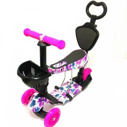 Самокат 5 в 1 с сиденьем, родительской ручкой, подставкой для ног и светящимися колёсами 21st Scooter 5 in 1 Print Цветы Розовый - 1