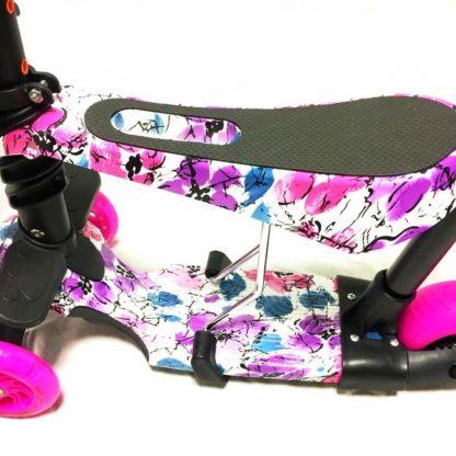 Самокат 5 в 1 с сиденьем, родительской ручкой, подставкой для ног и светящимися колёсами 21st Scooter 5 in 1 Print Цветы Розовый - 2
