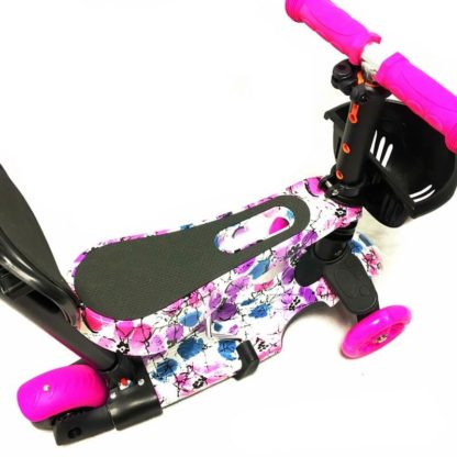 Самокат 5 в 1 с сиденьем, родительской ручкой, подставкой для ног и светящимися колёсами 21st Scooter 5 in 1 Print Цветы Розовый - 3