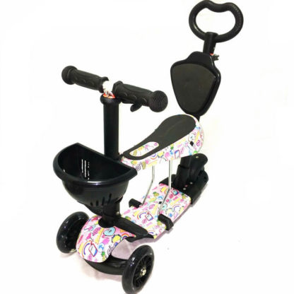 Самокат 5 в 1 с сиденьем, родительской ручкой, подставкой для ног и светящимися колёсами 21st Scooter 5 in 1 Print Гламур - 1