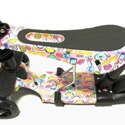 Самокат 5 в 1 с сиденьем, родительской ручкой, подставкой для ног и светящимися колёсами 21st Scooter 5 in 1 Print Гламур - 2