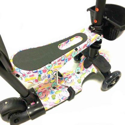 Самокат 5 в 1 с сиденьем, родительской ручкой, подставкой для ног и светящимися колёсами 21st Scooter 5 in 1 Print Гламур - 3