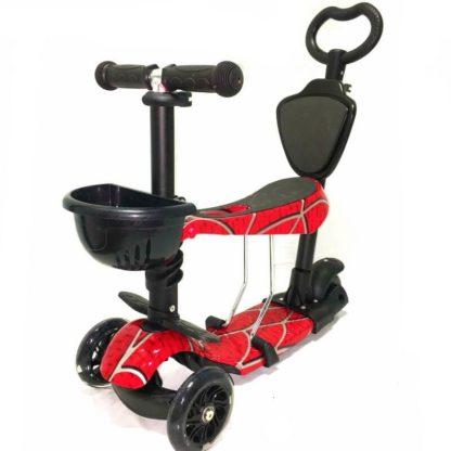 Самокат 5 в 1 с сиденьем, родительской ручкой, подставкой для ног и светящимися колёсами 21st Scooter 5 in 1 Print Паук - 1