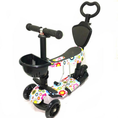 Самокат 5 в 1 с сиденьем, родительской ручкой, подставкой для ног и светящимися колёсами 21st Scooter 5 in 1 Print Ромашки - 1