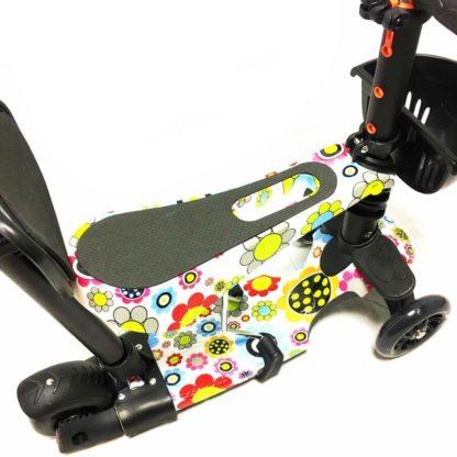 Самокат 5 в 1 с сиденьем, родительской ручкой, подставкой для ног и светящимися колёсами 21st Scooter 5 in 1 Print Ромашки - 3