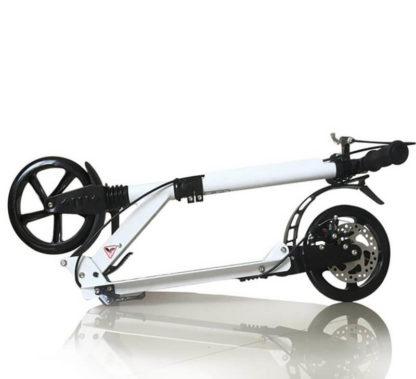 Двухколёсный алюминиевый самокат с дисковым тормозом, 2 амортизатора, колёса 200х25 мм Urban Scooter HT-2008D Белый - 3