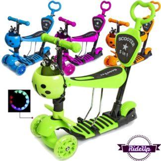 Детский трёхколёсный самокат 5 в 1 Божья Коровка с сиденьем, родительской ручкой, подножкой и светящимися колёсами 21st Scooter 5 in 1 - все цвета