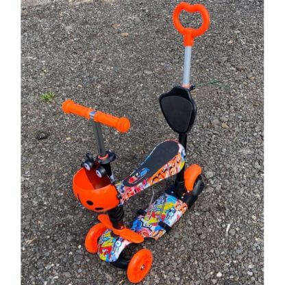 Детский трёхколёсный самокат 5 в 1 принт 21st Scooter 5 in 1 Print Божья Коровка - Граффити