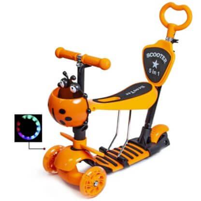 Детский трёхколёсный самокат 5 в 1 с сиденьем, родительской ручкой, подставкой для ног и светящимися колёсами 21st Scooter 5 in 1 Божья коровка Оранжевый - 1