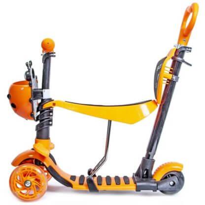 Детский трёхколёсный самокат 5 в 1 с сиденьем, родительской ручкой, подставкой для ног и светящимися колёсами 21st Scooter 5 in 1 Божья коровка Оранжевый - 2