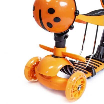 Детский трёхколёсный самокат 5 в 1 с сиденьем, родительской ручкой, подставкой для ног и светящимися колёсами 21st Scooter 5 in 1 Божья коровка Оранжевый - 3