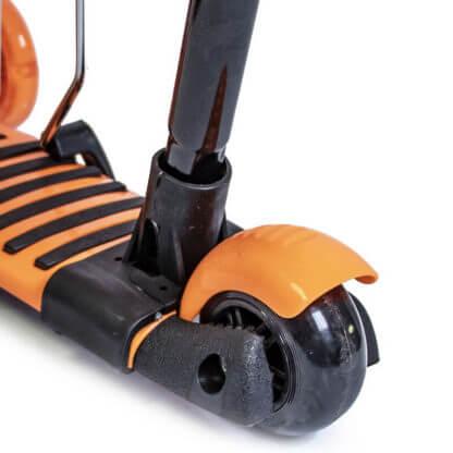 Детский трёхколёсный самокат 5 в 1 с сиденьем, родительской ручкой, подставкой для ног и светящимися колёсами 21st Scooter 5 in 1 Божья коровка Оранжевый - 4
