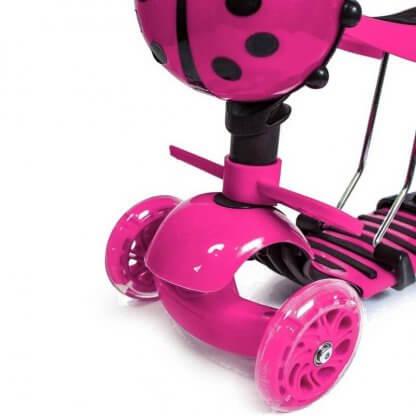 Детский трёхколёсный самокат 5 в 1 с сиденьем, родительской ручкой, подставкой для ног и светящимися колёсами 21st Scooter 5 in 1 Божья коровка Розовый - 3