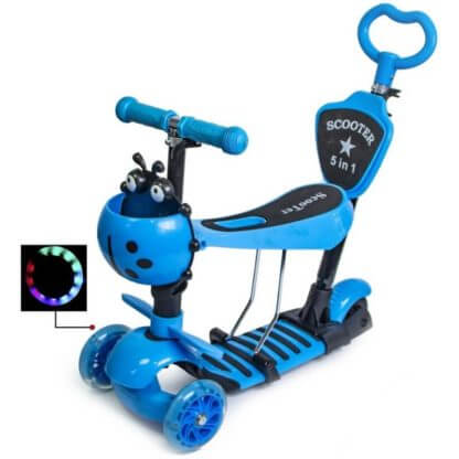 Детский трёхколёсный самокат 5 в 1 с сиденьем, родительской ручкой, подставкой для ног и светящимися колёсами 21st Scooter 5 in 1 Божья коровка Синий - 1