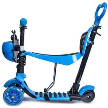 Детский трёхколёсный самокат 5 в 1 с сиденьем, родительской ручкой, подставкой для ног и светящимися колёсами 21st Scooter 5 in 1 Божья коровка Синий - 2