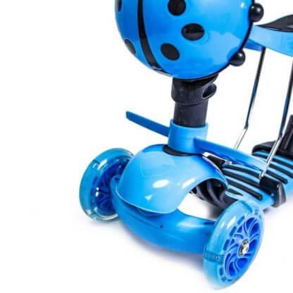 Детский трёхколёсный самокат 5 в 1 с сиденьем, родительской ручкой, подставкой для ног и светящимися колёсами 21st Scooter 5 in 1 Божья коровка Синий - 3