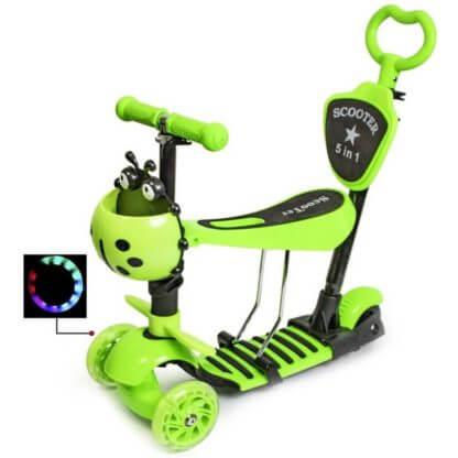 Детский трёхколёсный самокат 5 в 1 с сиденьем, родительской ручкой, подставкой для ног и светящимися колёсами 21st Scooter 5 in 1 Божья коровка Зелёный - 1