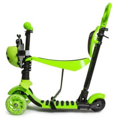 Детский трёхколёсный самокат 5 в 1 с сиденьем, родительской ручкой, подставкой для ног и светящимися колёсами 21st Scooter 5 in 1 Божья коровка Зелёный - 2