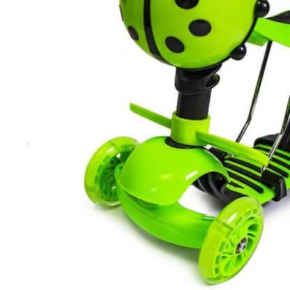 Детский трёхколёсный самокат 5 в 1 с сиденьем, родительской ручкой, подставкой для ног и светящимися колёсами 21st Scooter 5 in 1 Божья коровка Зелёный - 3