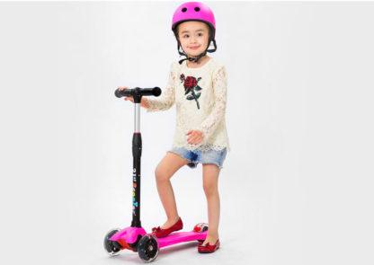 Детский трёхколёсный самокат-беговел 4 в 1 с сиденьем, родительской ручкой и светящимися колёсами 21st Scooter RO203M-4 - 10