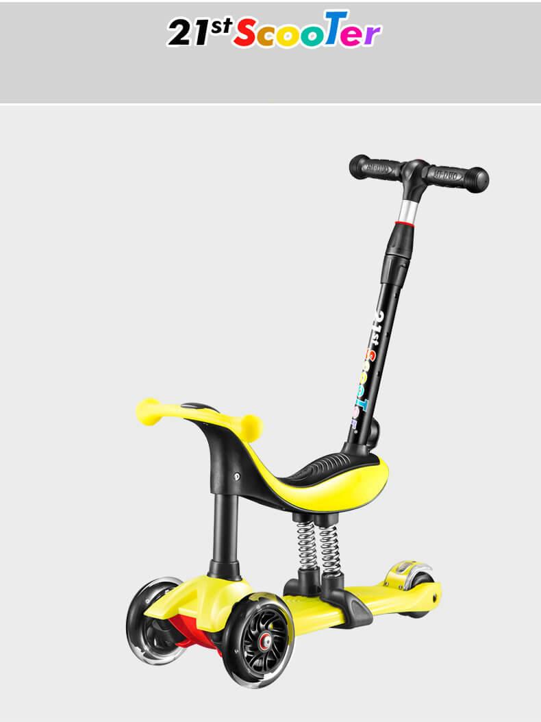 Детский трёхколёсный самокат-беговел 4 в 1 с сиденьем, родительской ручкой и светящимися колёсами 21st Scooter RO203M-4 - 11