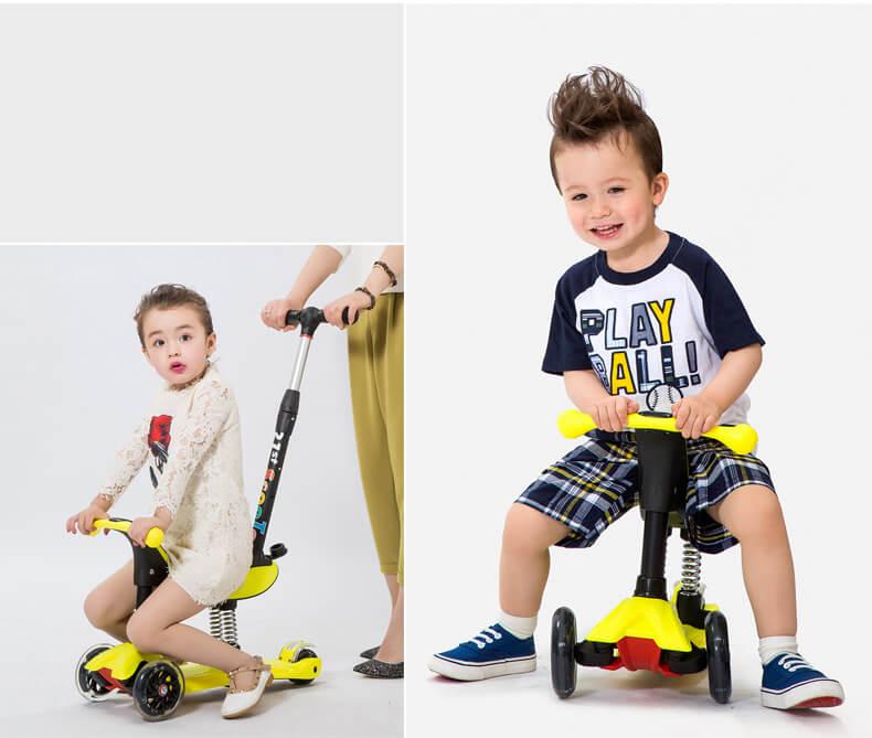 Детский трёхколёсный самокат-беговел 4 в 1 с сиденьем, родительской ручкой и светящимися колёсами 21st Scooter RO203M-4 - 12