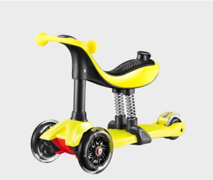 Детский трёхколёсный самокат-беговел 4 в 1 с сиденьем, родительской ручкой и светящимися колёсами 21st Scooter RO203M-4 - 13