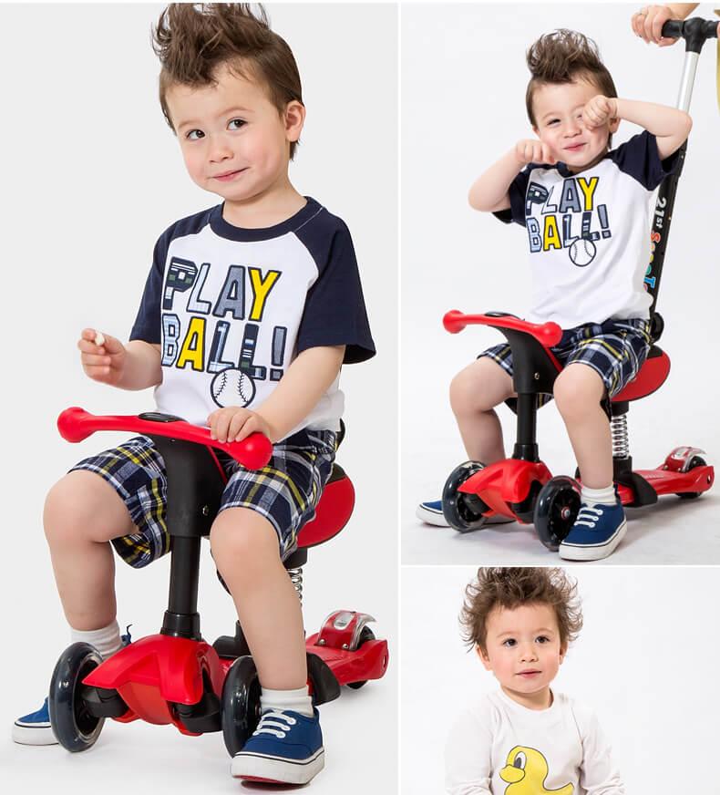 Детский трёхколёсный самокат-беговел 4 в 1 с сиденьем, родительской ручкой и светящимися колёсами 21st Scooter RO203M-4 - 16