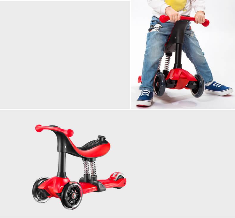 Детский трёхколёсный самокат-беговел 4 в 1 с сиденьем, родительской ручкой и светящимися колёсами 21st Scooter RO203M-4 - 17