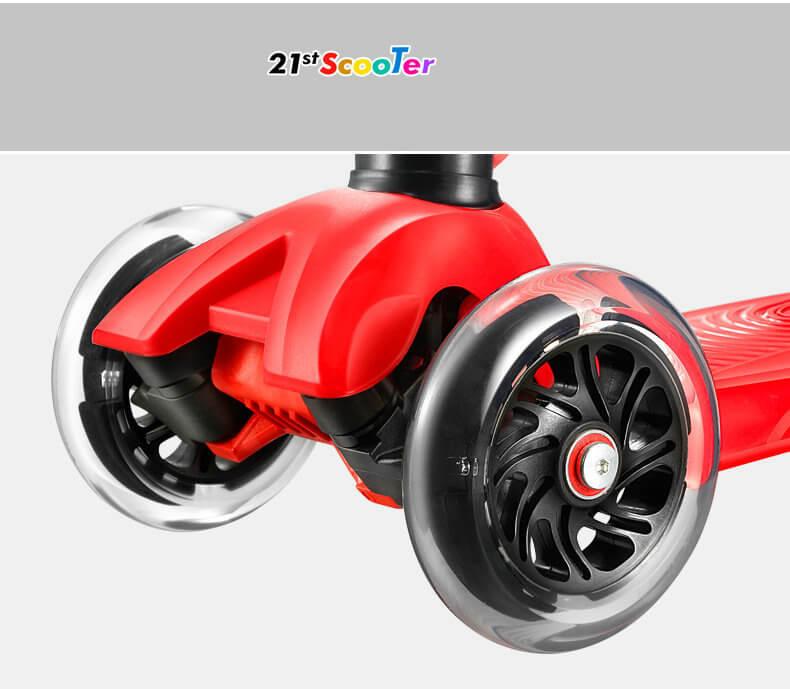 Детский трёхколёсный самокат-беговел 4 в 1 с сиденьем, родительской ручкой и светящимися колёсами 21st Scooter RO203M-4 - 18