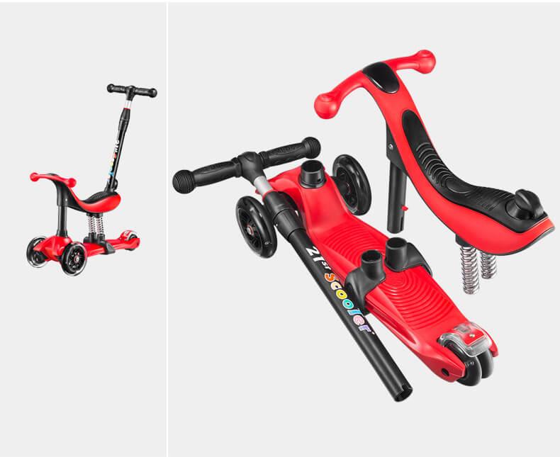 Детский трёхколёсный самокат-беговел 4 в 1 с сиденьем, родительской ручкой и светящимися колёсами 21st Scooter RO203M-4 - 22