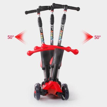 Детский трёхколёсный самокат-беговел 4 в 1 с сиденьем, родительской ручкой и светящимися колёсами 21st Scooter RO203M-4 - 34