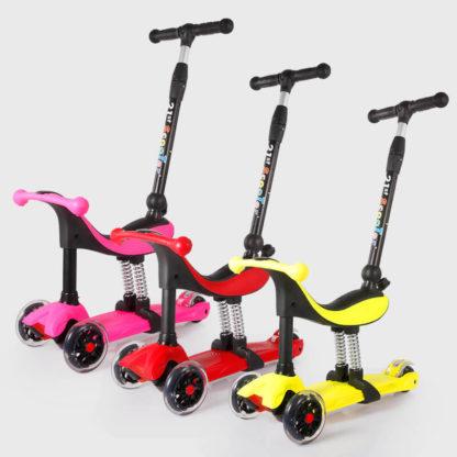 Детский трёхколёсный самокат-беговел 4 в 1 с сиденьем, родительской ручкой и светящимися колёсами 21st Scooter RO203M-4