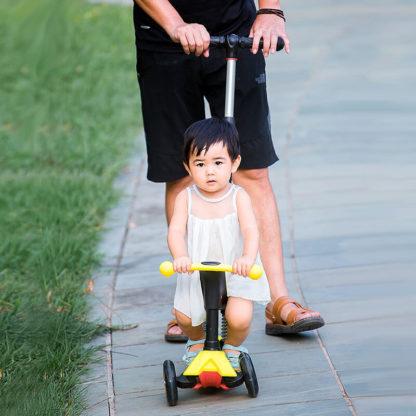 Детский трёхколёсный самокат-беговел 4 в 1 с сиденьем, родительской ручкой и светящимися колёсами 21st Scooter RO203M-4 - 42