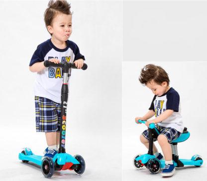 Детский трёхколёсный самокат-беговел 4 в 1 с сиденьем, родительской ручкой и светящимися колёсами 21st Scooter RO203M-4 - 6